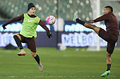Juan Iturbe of AS Roma competes for the ball against Ashley cole during an AS Roma training session at Melbourne Cricket Ground on July 17 2015 in...