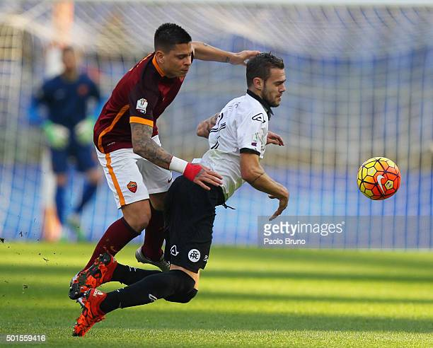 Juan Iturbe of AS Roma competes for the ball with Ivan Martic of AC Spezia during the TIM Cup match between AS Roma and AC Spezia at Stadio Olimpico...