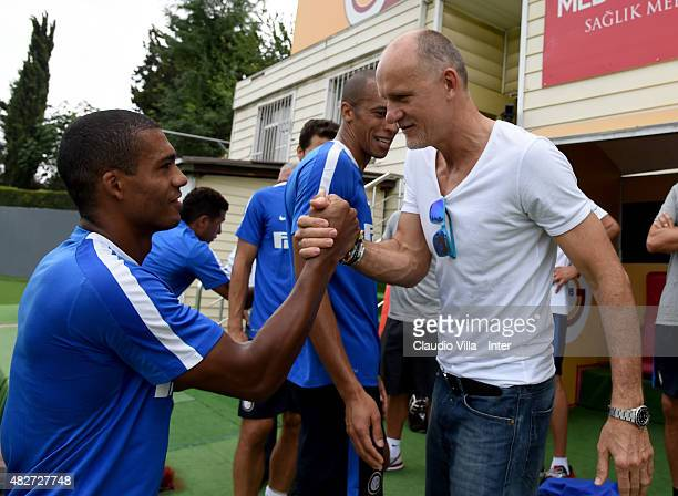 Juan Jesus and Claudio Taffarel attend a FC Internazionale training session at the Florya training camp on August 2 2015 in Istanbul Turkey
