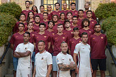 Juan Jesus Francesco Totti Radja Nainggolan and Kevin Strootman attend the opening of AS Roma new store at Via Del Corso on July 21 2016 in Rome Italy