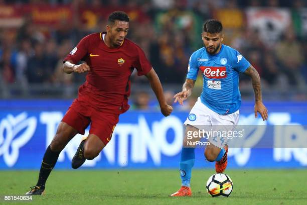 Juan Jesus of Roma and Lorenzo Insigne of Napoli during the Italian Serie A football match Roma vs Napoli at the Olympic Stadium in Rome on October...