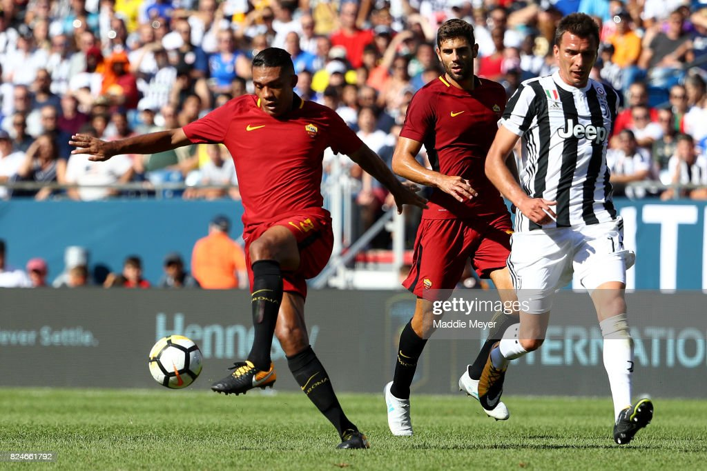 Juan Jesus #5 of Roma gains control of the ball during the International Champions Cup 2017 match against Juventus at Gillette Stadium on July 30, 2017 in Foxboro, Massachusetts.