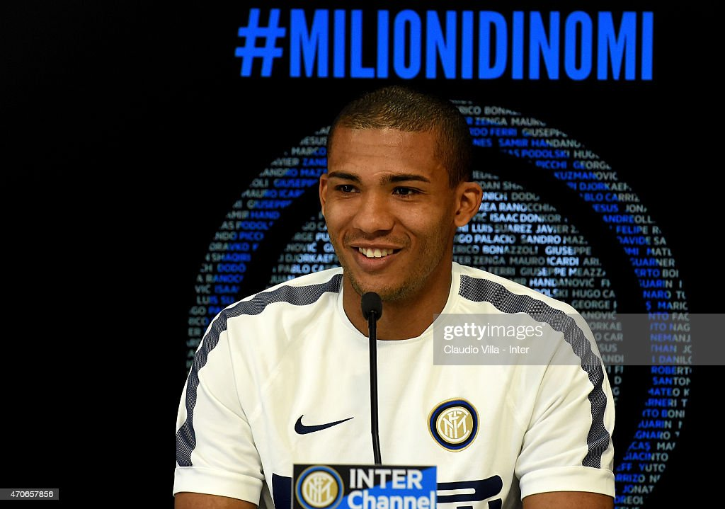 Juan Jesus speaks to the media during an FC Internazionale Press Conference at Appiano Gentile on April 22, 2015 in Como, Italy.