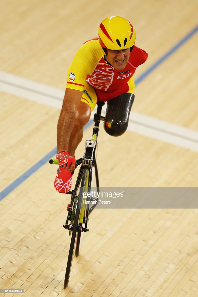Juan Jose Mendez of Spain competes in the Men's Individual C1-2-3 1km Cycling Time Trial final on day 1 of the London 2012 Paralympic Games at Velodrome on August 30, 2012 in London, England.