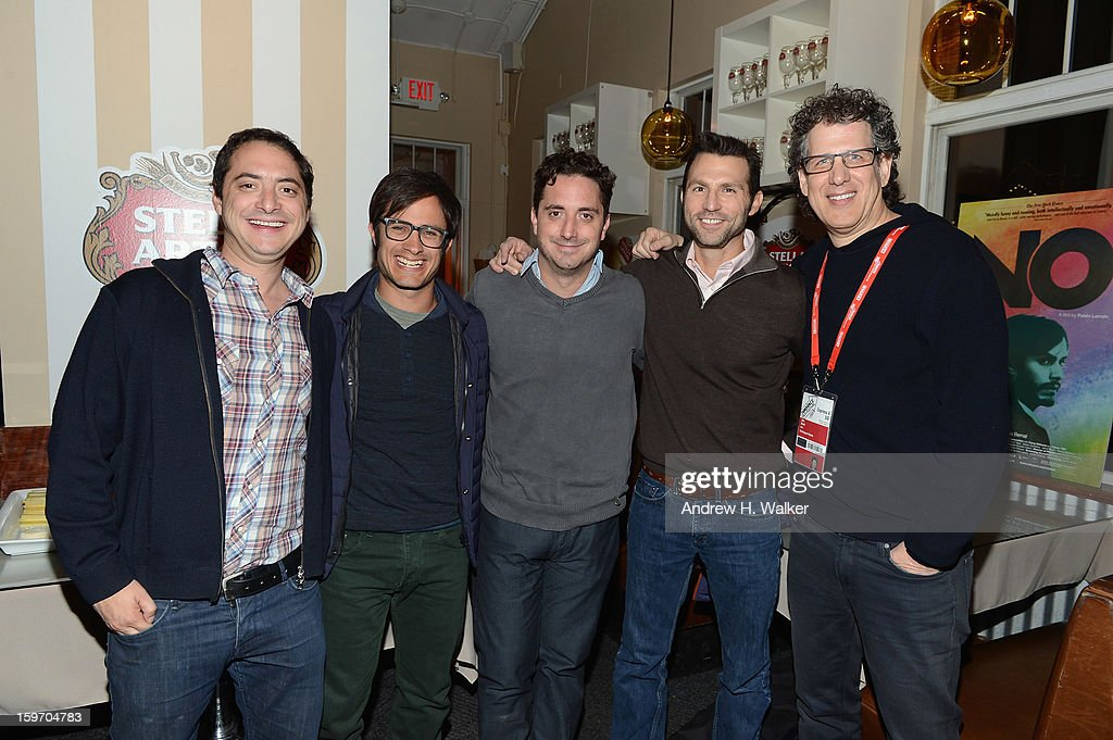 Juan Larrain, actor Gael Garcia Bernal, director <a gi-track='captionPersonalityLinkClicked' href=/galleries/search?phrase=Pablo+Larrain&family=editorial&specificpeople=5351700 ng-click='$event.stopPropagation()'>Pablo Larrain</a>, Jonathan King and Jim Berk attend the Stella Artois Cafe on January 18, 2013 in Park City, Utah.