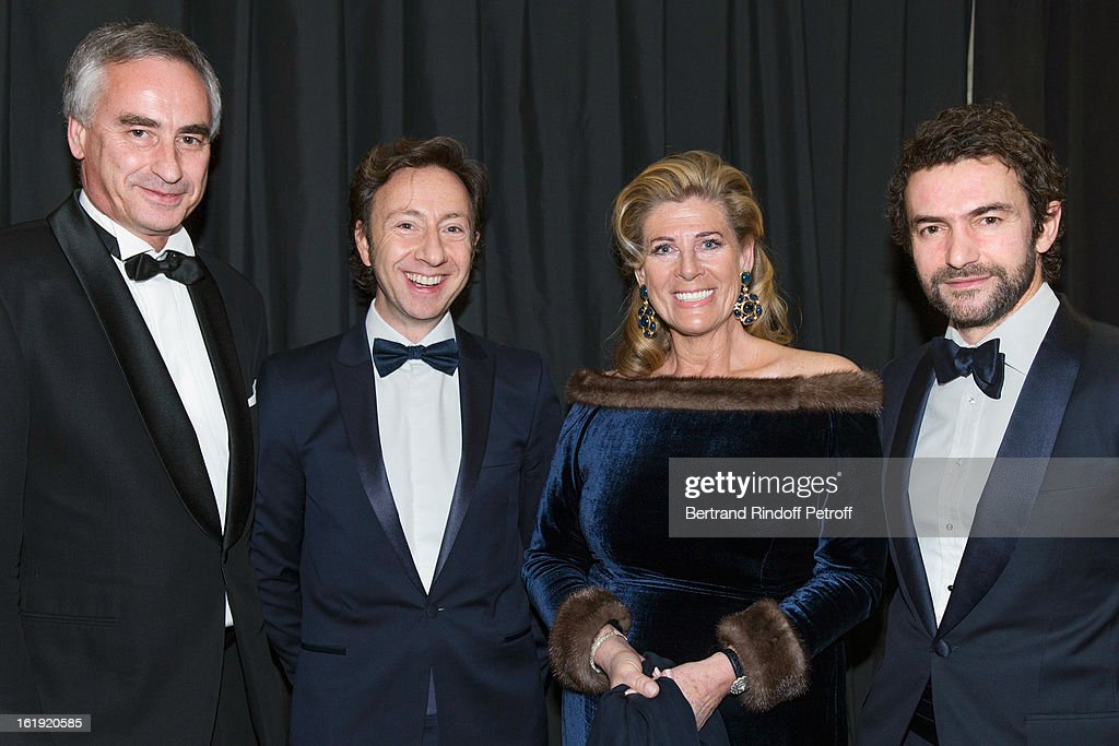 Juan Le Clercq, Stephane Bern, French journalist and author, Princess Lea of Belgium, acting as honorary chairperson of the event, and Cyril Vergniol attend the 30th edition of 'La Nuit Des Neiges' Charity Gala on February 16, 2013 in Crans-Montana, Switzerland.