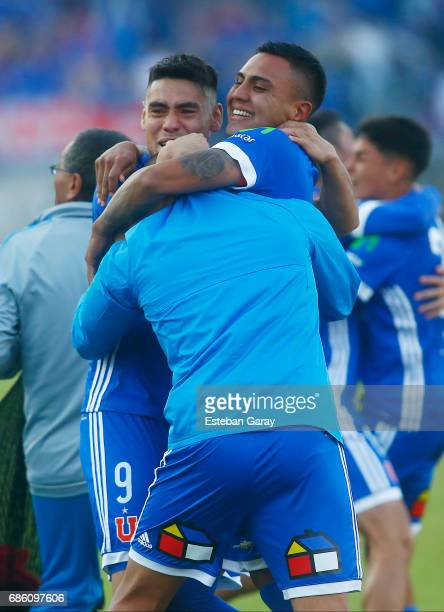 Juan Leiva and Felipe Mora of Universidad de Chile celebrate winning the Chilean Championship title after a match between Universidad de Chile v San...