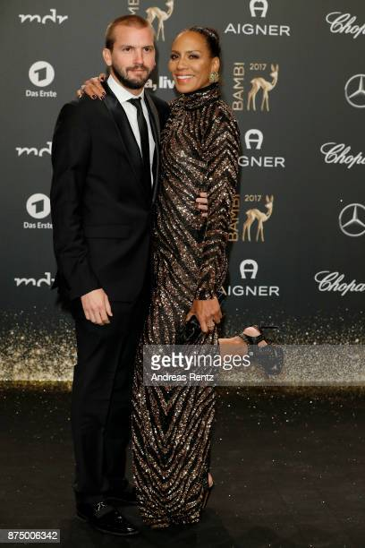 Juan Lopez Salaberry and Barbara Becker arrive at the Bambi Awards 2017 at Stage Theater on November 16 2017 in Berlin Germany