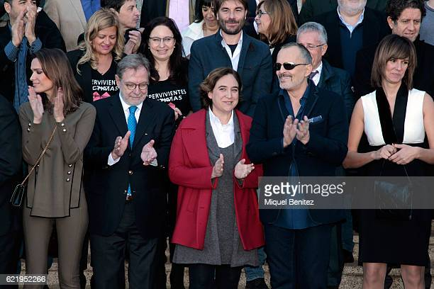 Juan Luis Cebrian Ada Colau and Miguel Bose attend the reception to the Ondas Awards 2016 winners press conference at the Palauet Albeniz on November...