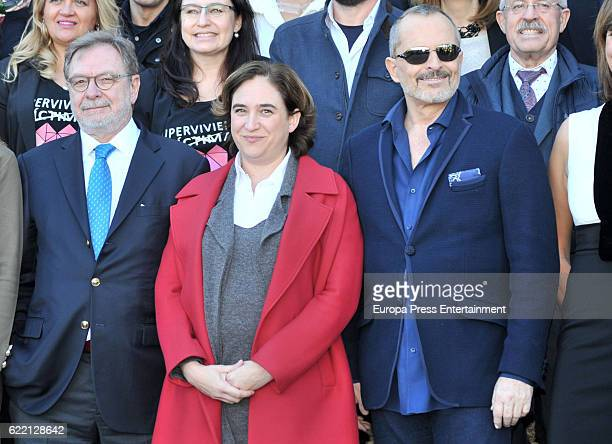 Juan Luis Cebrian Ada Colau and Miguel Bose attend the reception to the Ondas Awards 2016 winners press conference at the Albeniz Palace on November...