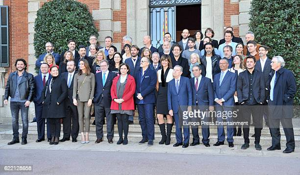 Juan Luis Cebrian Ada Colau and winners attend the reception to the Ondas Awards 2016 winners press conference at the Albeniz Palace on November 9...