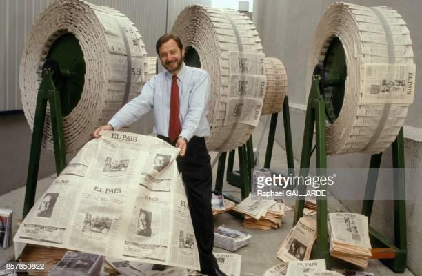Juan Luis Cebrian directeur du quotidien El Pais le 22 mars 1993 a Madrid Espagne