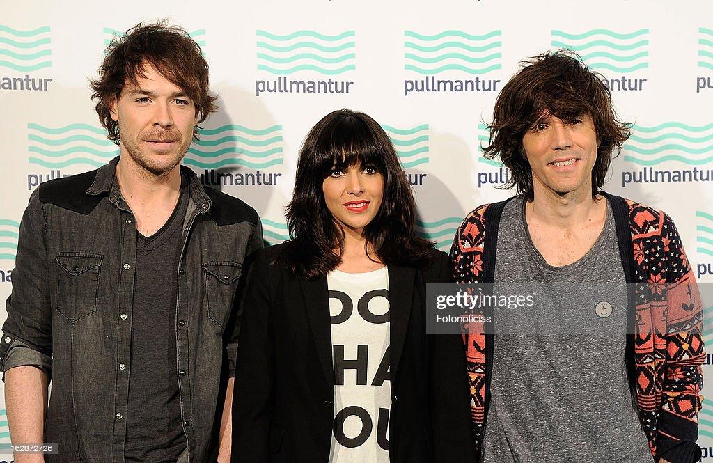 Juan Luis Suarez, Raquel del Rosario and David Feito, members of 'El Sueno de Morfeo', attend the Blue Night by Pullmantur at Neptuno Palace on February 28, 2013 in Madrid, Spain.