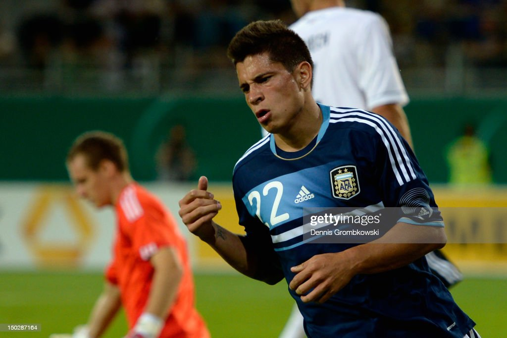 Juan Manuel Iturbe of Argentina celebrates after scoring his team's first goal during the Under 21 international friendly match between Germany U21 and Argentina U21 at Sparda-Bank-Hessen-Stadion on August 14, 2012 in Offenbach, Germany.
