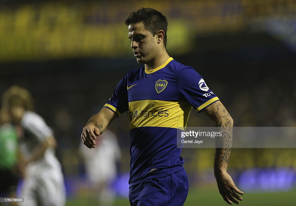 Juan Manuel Martinez of Boca Juniors during a match between Boca Juniors and Newell's Old Boys as part of the Torneo Inicial 2013 at Alberto J. Armando Stadium on August 13, 2013 in Buenos Aires, Argentina.