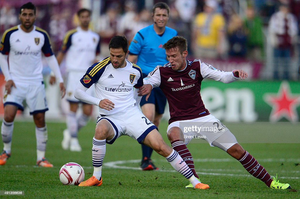 Juan Manuel Martinez (22) of Real Salt Lake tries to defend the ball from Lucas Pittinari (22) of Colorado Rapids during the first half October 4, 2015 at Dick's Sporting Goods Park. Colorado Rapids play Real Salt Lake for the Rocky Mountain Cup.