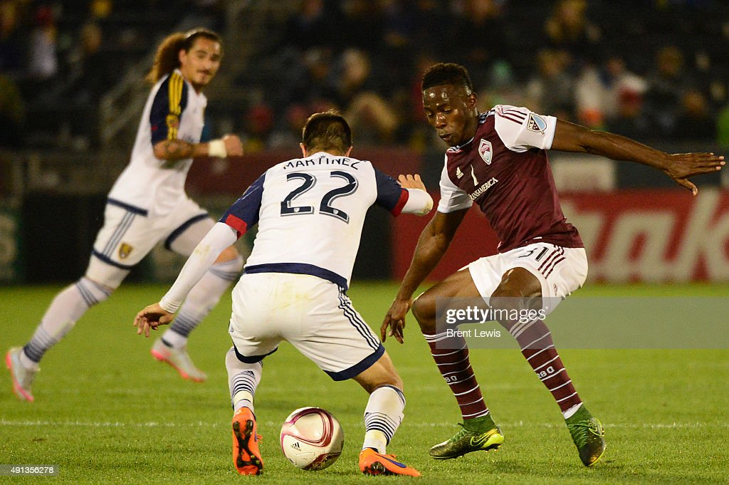 Juan Manuel Martinez (22) of Real Salt Lake tries to shake the defense of <a gi-track='captionPersonalityLinkClicked' href=/galleries/search?phrase=Maynor+Figueroa&family=editorial&specificpeople=882234 ng-click='$event.stopPropagation()'>Maynor Figueroa</a> (31) of Colorado Rapids during the second half October 4, 2015 at Dick's Sporting Goods Park. Colorado Rapids lost 2-1 against Real Salt Lake, but took back the Rocky Mountain Cup.