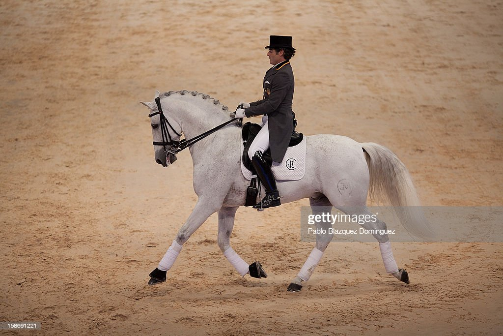 Juan Manuel Munoz Diaz rides Fuego de Cardenas during Madrid Horse Week Fair at Ifema on December 23, 2012 in Madrid, Spain.