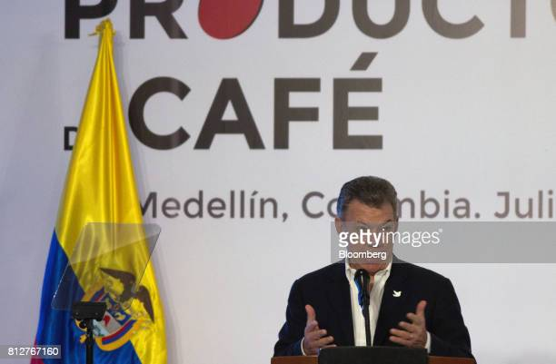 Juan Manuel Santos Colombia's president speaks during the World Coffee Producers Forum in Medellin Colombia on Tuesday July 11 2017The World Coffee...