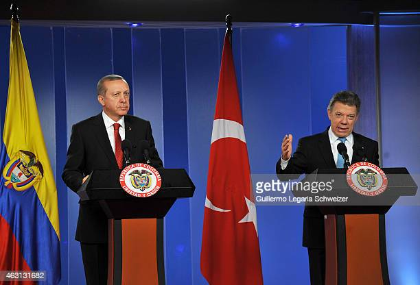Juan Manuel Santos president of Colombia speaks during a joint press conference with Turkish president Recep Tayyip Erdoga after a meeting at Narino...