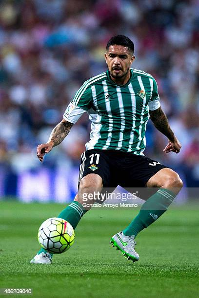 Juan Manuel Vargas of Real Betis Balompie controls the ball during the La Liga match between Real Madrid CF and Real Betis Balompie at Estadio...