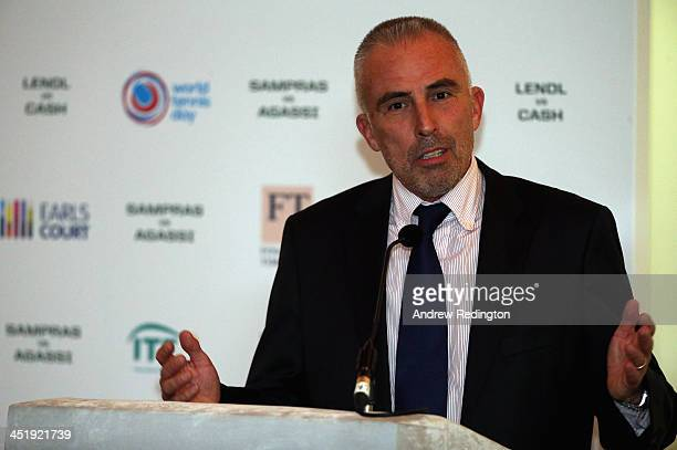 Juan Margets Executive Vice President ITF addresses the media during a press conference to announce ticket information and sponsorships for the World...