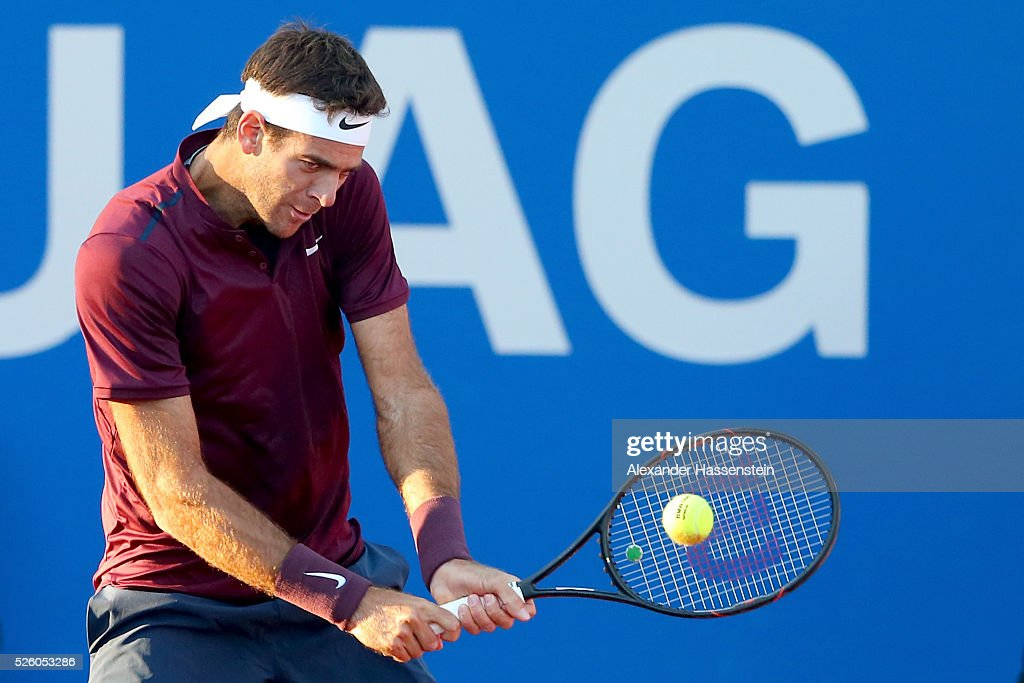 Juan Martin Del Porto of Argentina plays a back hand during his quater final match against Philipp Kohlschreiber of Germany of the BMW Open at Iphitos tennis club on April 29, 2016 in Munich, Germany.