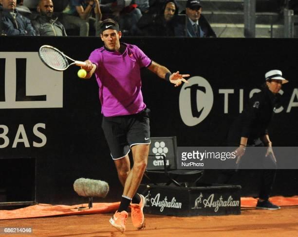 Juan Martin Del Potro in action against Novak Djokovic during the ATP World Tour Masters 1000 Internazionali BNL D'Italia at the Foro Italico Rome...