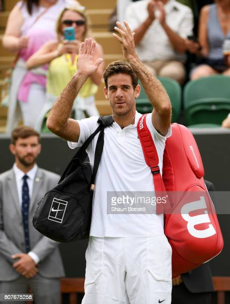 Juan Martin Del Potro of Argentina acknowledges the crowd after his Gentlemen's Singles first roud match against Thanasi Kokkinakis of Australia on...