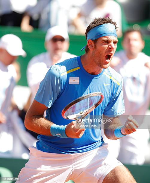 Juan Martin Del Potro of Argentina celebrates a point in the first Davis Cup semifinal match between Argentina and Czech Republic at Mary Ter‡n de...