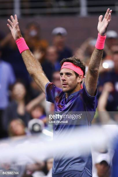 Juan Martin del Potro of Argentina celebrates after defeating Dominic Thiem of Austria in their fourth round Men's Singles match on Day Eight of the...