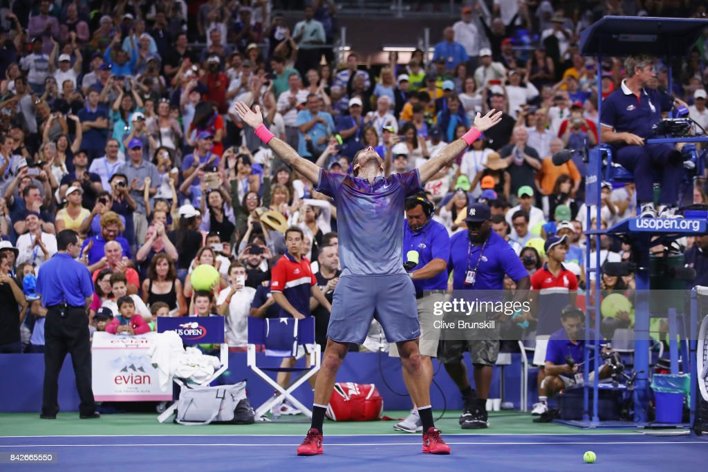 Juan Martin del Potro of Argentina celebrates after defeating Dominic Thiem of Austria in their fourth round Men's Singles match on Day Eight of the 2017 US Open at the USTA Billie Jean King National Tennis Center on September 4, 2017 in the Flushing neighborhood of the Queens borough of New York City.