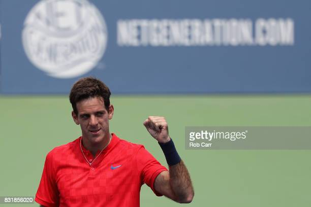 Juan Martin Del Potro of Argentina celebrates after defeating Tomas Berdych of the Czech Republic during the Western and Southern Open on August 15...