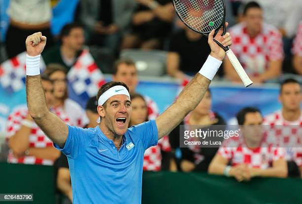 Juan Martin Del Potro of Argentina celebrates after winning against Marin Cilic of Croatia in the fourth match of the 2016 Davis Cup Final between...