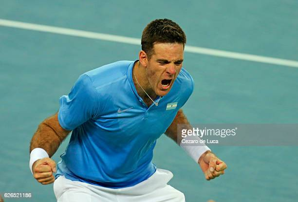 Juan Martin Del Potro of Argentina celebrates after winning against Ivo Karlovic of Croatia in the second match of the 2016 Davis Cup Final between...