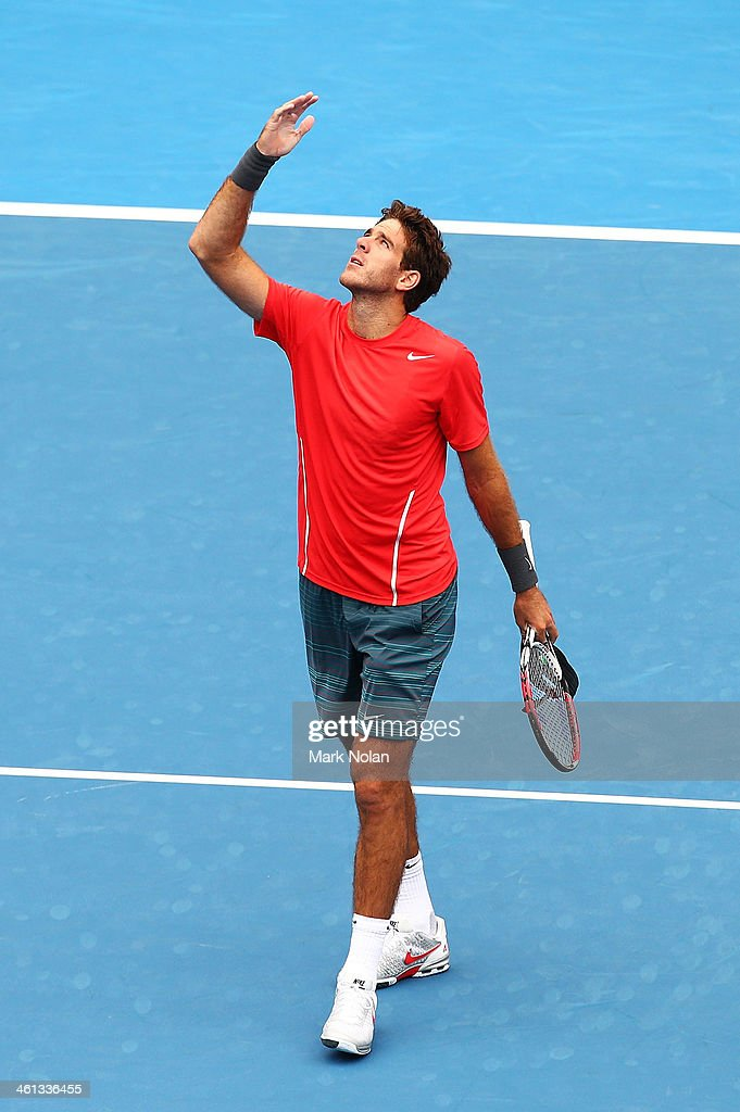 Juan Martin Del Potro of Argentina celebrates after winning his match against Nicolas Mahut of France during day four of the 2014 Sydney International at Sydney Olympic Park Tennis Centre on January 8, 2014 in Sydney, Australia.
