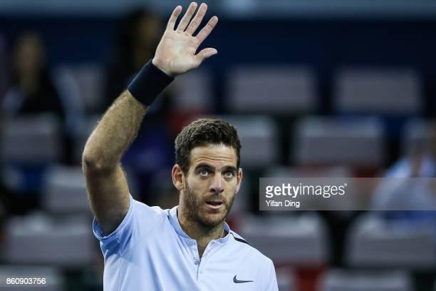 Juan Martin del Potro of Argentina celebrates after winning the Men's singles quarter final mach against Viktor Troicki of Serbia on day six of 2017...