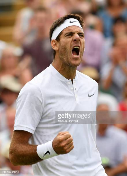 Juan Martin Del Potro of Argentina celebrates during the Gentlemen's Singles first roud match against Thanasi Kokkinakis of Australia on day two of...