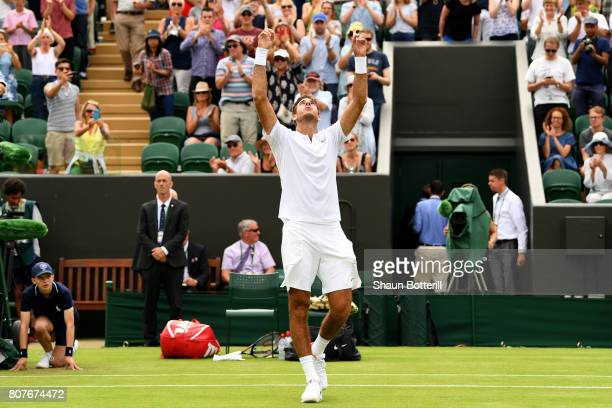 Juan Martin Del Potro of Argentina celebrates victory after his Gentlemen's Singles first roud match against Thanasi Kokkinakis of Australia on day...