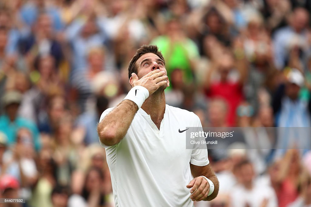 Juan Martin Del Potro of Argentina celebrates victory during the Men's Singles second round match against Stan Wawrinka of Switzerland on day five of the Wimbledon Lawn Tennis Championships at the All England Lawn Tennis and Croquet Club on July 1, 2016 in London, England.