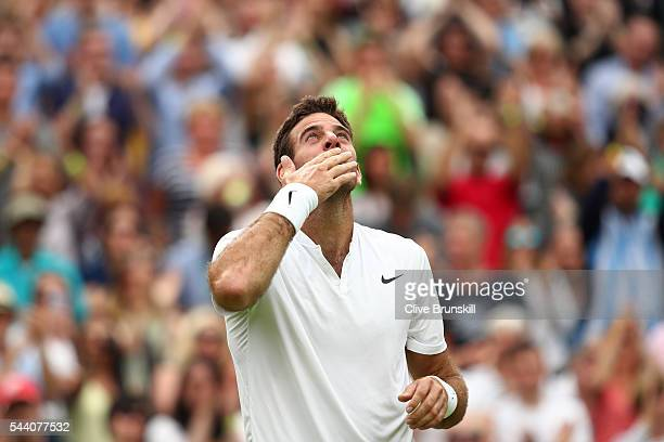 Juan Martin Del Potro of Argentina celebrates victory during the Men's Singles second round match against Stan Wawrinka of Switzerland on day five of...