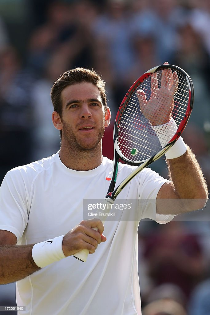 Juan Martin Del Potro of Argentina celebrates victory during the Gentlemen's Singles fourth round match against Andreas Seppi of Italy on day seven of the Wimbledon Lawn Tennis Championships at the All England Lawn Tennis and Croquet Club on July 1, 2013 in London, England.