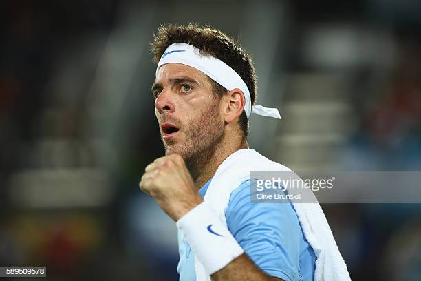 Juan Martin Del Potro of Argentina celebrates winning a point during the men's singles gold medal match against Andy Murray of Great Britain on Day 9...