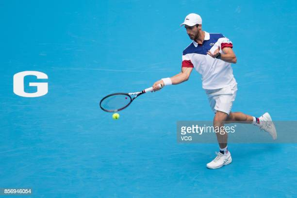 Juan Martin del Potro of Argentina competes during the Men's singles first round match against Pablo Cuevas of Uruguay on day four of 2017 China Open...