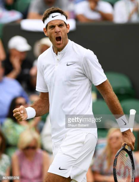 Juan Martin Del Potro of Argentina during the Gentlemen's Singles first round match against Thanasi Kokkinakis of Australia on day two of the...