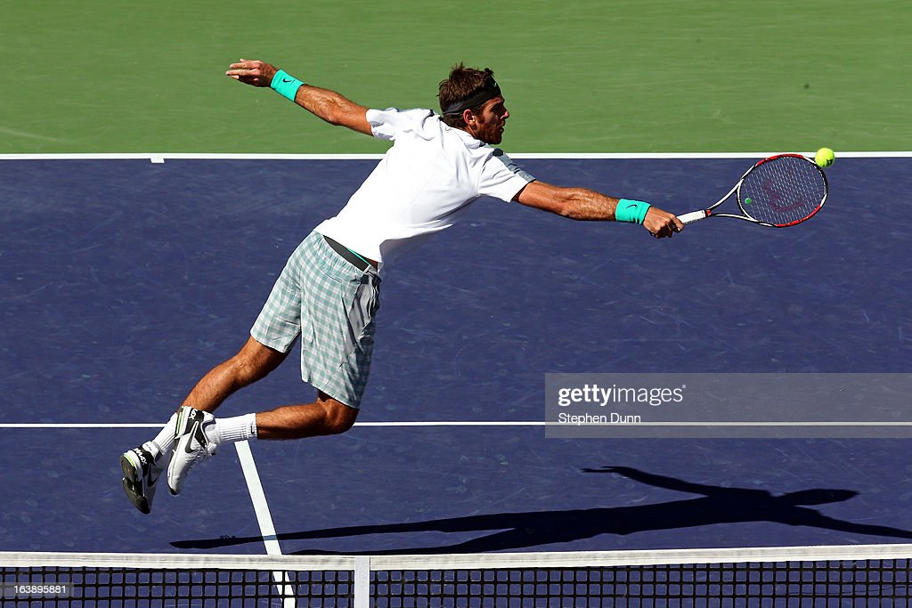 Juan Martin Del Potro of Argentina hits a winner for set point in the first set against Rafael Nadal of Spain during their men's final match of the 2013 BNP Paribas Open at the Indian Wells Tennis Garden on March 17, 2013 in Indian Wells, California.