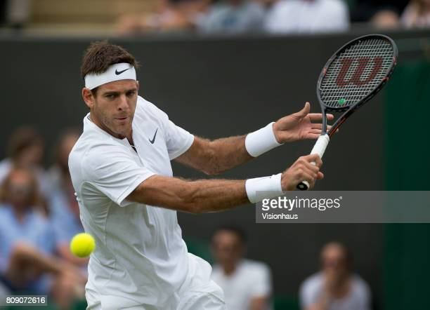 Juan Martin Del Potro of Argentina in action against Thanasi Kokkinakis of Australia on day two of the Wimbledon Lawn Tennis Championships at the All...