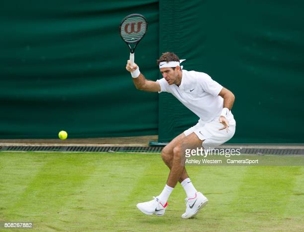 Juan Martin Del Potro of Argentina in action during his victory over Thanis Kokkinakis of Australia in their Men's Singles First Round Match at...