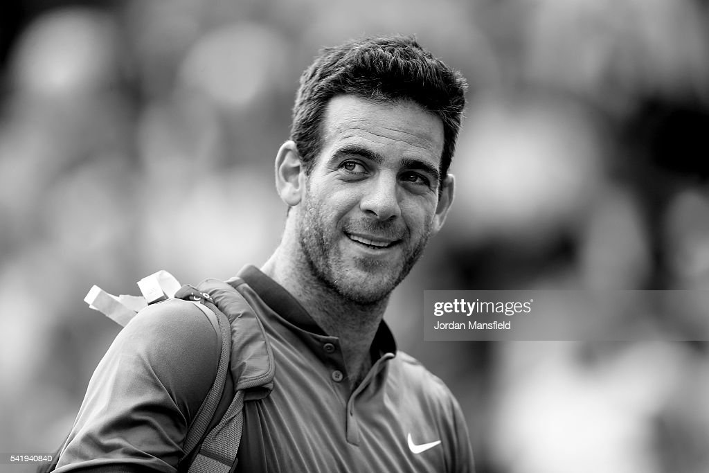 Juan Martin del Potro of Argentina looks on as he walks off court after his match against Borna Coric of Croatia during day one of The Boodles Tennis Event at Stoke Park on June 21, 2016 in Stoke Poges, England.