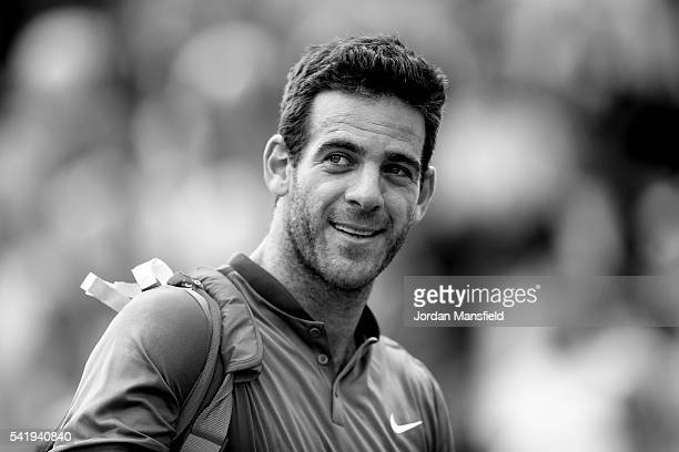 Juan Martin del Potro of Argentina looks on as he walks off court after his match against Borna Coric of Croatia during day one of The Boodles Tennis...